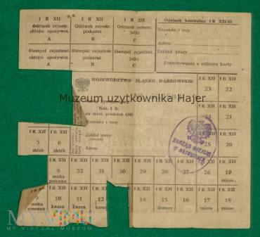 Karta żywnościowa Kat I R. Katowice 1945 rok