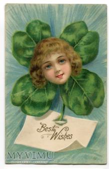 1908 Główka dziecka i czterolistna koniczynka