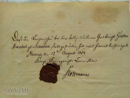 Zaświadczenie - 1854 r.