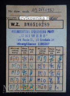 1987 rok dowód wydania kartek żywnościowych M-I-D