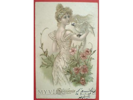 1905 Śliczna dziewczyna i papuga jak z raju