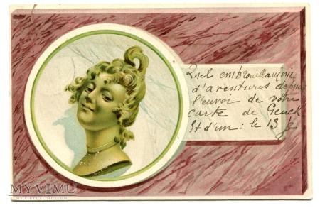 1900 SECESJA Głowa Kobiety i Galimatias pocztówka