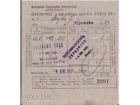 Rachunek za prąd z 1928
