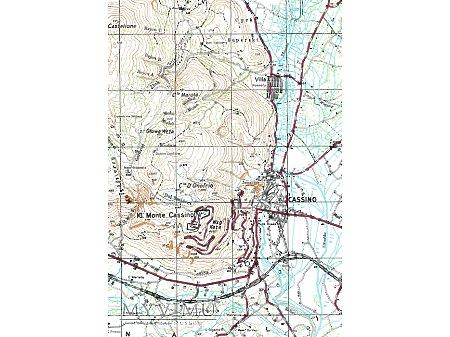 Monte Cassino - mapa topograficzna