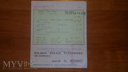 Bilet kolejowy relacji Katowice-Hel
