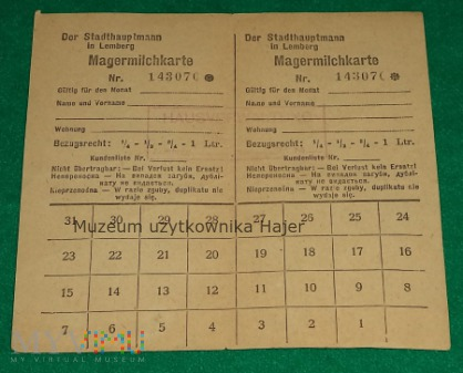 Magermilchkarte Lemberg - kartka na mleko Lwów