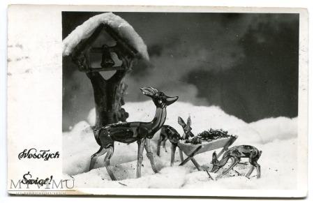 1953 Wesołych Świąt sarny Życzenia z PRL