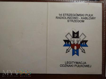Legitymacja do odznaki 14 Strzegomski Pułk ; druk