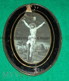 Jesus Stary obrazek święty w ramie za szkłem