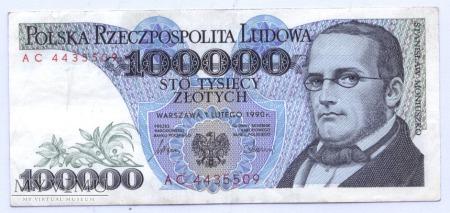 100 000 złotych - 1990.