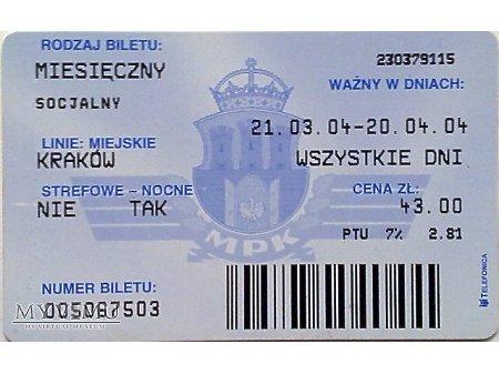 Bilet MPK Kraków 36