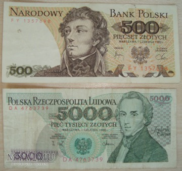 Kolekcja banknotów z pięknych czasów PRL-U
