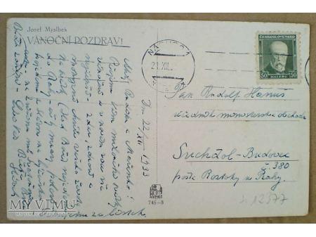 Wesołych Świąt 1933 Życzenia po czesku pocztówka