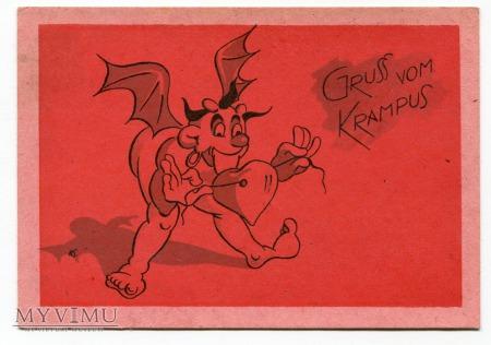 Diabeł zabawny KRAMPUS z Austrii Gruss vom