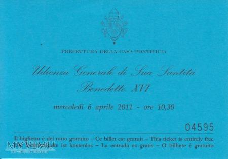 Wejściówka na Audiencję Papieską