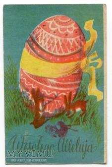 Duże zdjęcie 1957 PRL Wielkanoc Pisanka Wesołego Alleluja