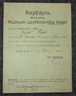 Impfschein Świadectwo szczepienia Beuthen 1926