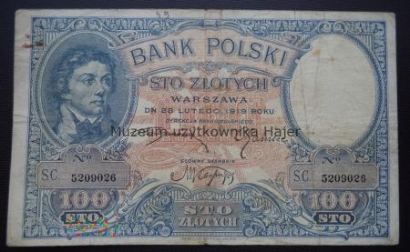 100 złotych - 28 lutego 1919