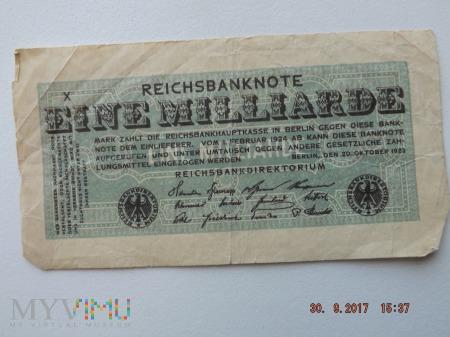 Eine Milliarde Mark 1923r.