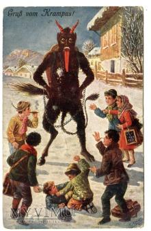 Roześmiana gęba diabła KRAMPUS pocztówka