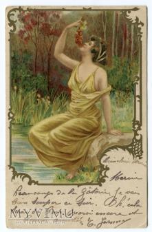 1902 Secesja Kobieta z owocami - nimfa leśna ;)