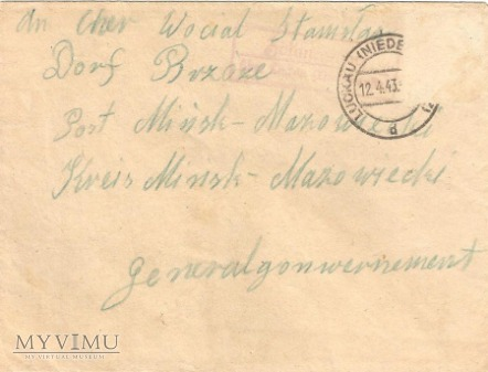 Okupacyjna koperta listowa.