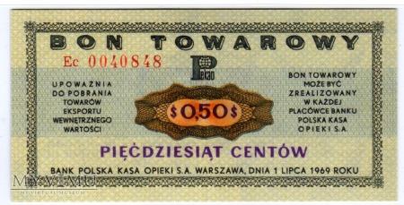 Duże zdjęcie Bon Towarowy PeKaO - B16a - 50 Centów - 1969