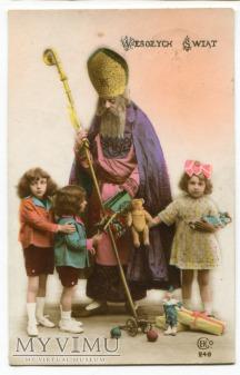 Święty Mikołaj z zabawkami i dzieci