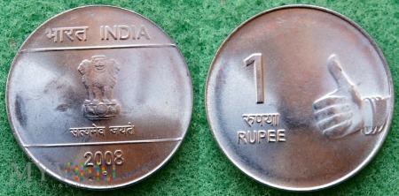 Indie, 1 Rupia 2008