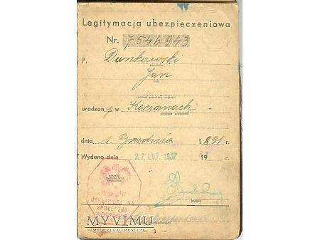 Legitymacja Ubezpieczeniowa 1937r