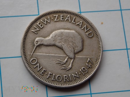1 FLORIN 1947 - NOWA ZELANDIA