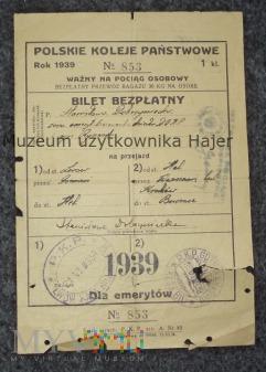 Lwów - Hel Bilet kolejowy PKP 1939 rok