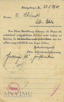 Otto Schimmelpfennig Konigsberg 1920 r.