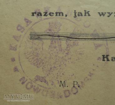 pokwitowania skarbowe, rok 1921