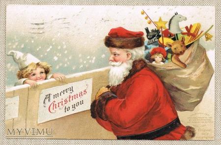 Boże Narodzenie Mikołaj z zabawkami chłopiec 1907