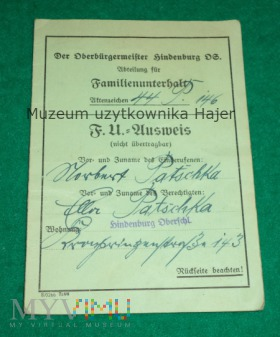 Ausweis - Familienunterhalt - Hindenburg Zabrze