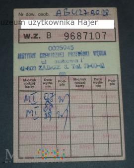 1989 rok dowód wydania kartek żywnościowych M-I