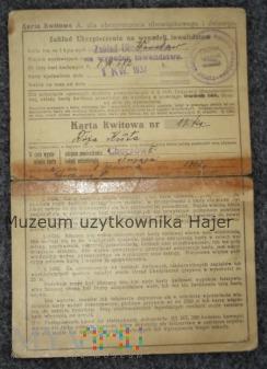 Karta kwitowa Zakład Ubezpieczenia Chorzów 1937