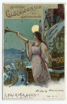 1900 Anioł nad miastem NOWY ROK Litho angel