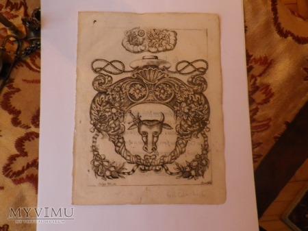 Herb Pomian- karta z starodruku,drzeworyt