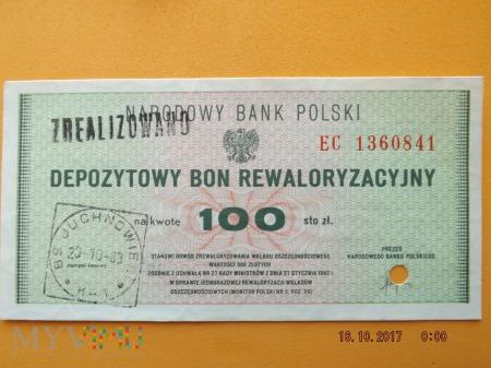 Bon Rewaloryzacyjny - 100 zł - 1985r.