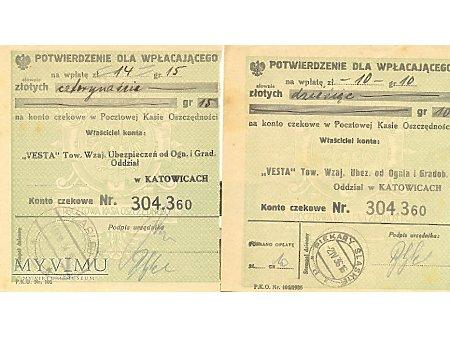 Kwity wpłat na ubezpieczenie lata 30-te