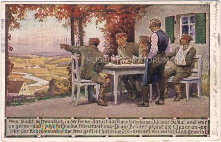 Rezerwiści przy piwku po powrocie ze służby
