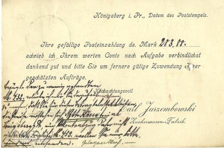 Karl Jarzembowski Konigsberg 1917 r.