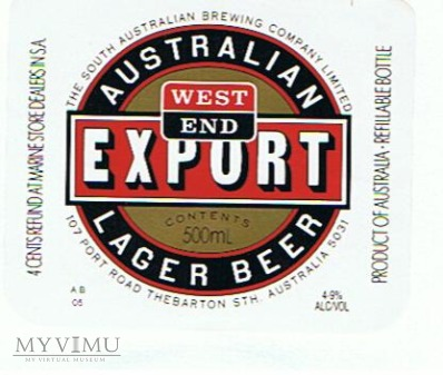west end export lager beer