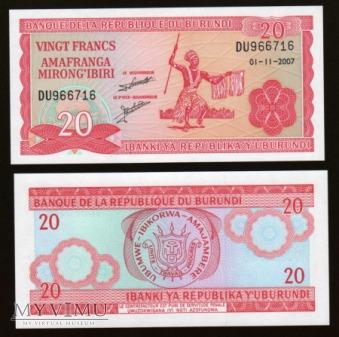 Burundi - P 27 - 20 Francs - 2007