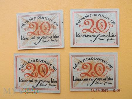 Notgeld - Lübeck - 20 Pfennig 1921r.