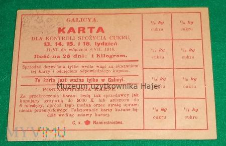 Karta dla kontroli spożycia cukru Galicya 1916 rok