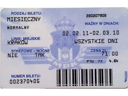 Bilet MPK Kraków 44