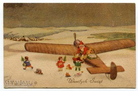 1937 Święty Mikołaj w Aeroplanie rozdaje podarki